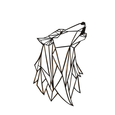 loup wolf polygon black and white