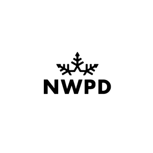 No work on powder days logo black white